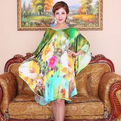 Silk Long Dress 100% Natural Silk Satin Women Dresses 2015 New Summer Style  Desigual 8b2ae256e8a5
