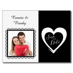 Elegant Black and White Save the Date with Photo Post Cards
