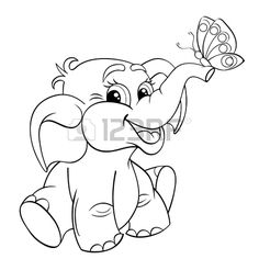 Funny cartoon baby elephant with butterfly. Black and white vector illustration for coloring book - Buy this stock vector and explore similar vectors at Adobe Stock Butterfly Quilt, Butterfly Drawing, Butterfly Baby, Butterfly Black And White, Black And White Baby, Baby Elefant, Elephant Applique, Applique Templates, Illustration
