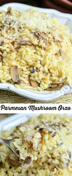 Parmesan Mushroom Orzo ~ with freshly grated Parmesan cheese, sauteed mushrooms and shallots. Orzo Recipes, Side Dish Recipes, Vegetarian Recipes, Dinner Recipes, Cooking Recipes, Skillet Recipes, I Love Food, Good Food, Yummy Food