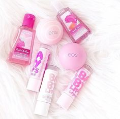 Bath and bodyworks sanitizer, baby lips balm and EOS