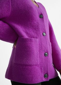 Relaxed Knit Cardigan - Purple - Cardigans - & Other Stories GB