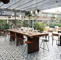 Cement Tile Shop - Handmade Cement Tile - Sofia Black Pattern. Outpost Restaurant at The Goodland Hotel, Santa Barbara - A Kimpton Hotel.