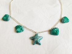 Turquoise and Silver Shell and Starfish Necklace £10.00