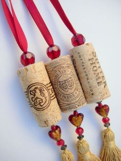 Wine Cork  Ornaments (3) Upcycled!  This would make great book marks.