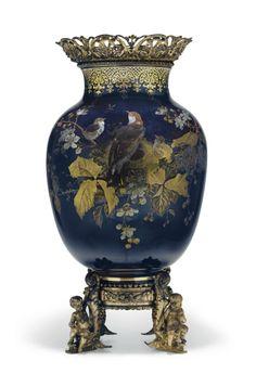 An ormolu-mount French Aesthetic Movement ground vase, c. 1870.