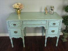 i have desks i could do this to. great idea. new color, new handles and it's brand new and chic.