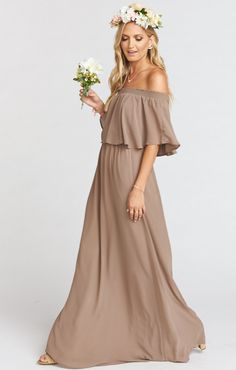 Her pretty ruffle is flattering on everyone, and her elastic scrunch neck line will allows you to dance all night long. I think this might just be one of the most versatile dresses we have ever seen. Wear her as a tube dress, off your shoulders, or even on your shoulders if you prefer! Wear her to your bestie's wedding or in your bestie's wedding. Dress her down for a moonlight stroll down to the ocean or to that summertime school reunion and you now no longer have to dread finding a dress…