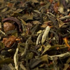 White Pomegranate White Tea (100% organic)  An uplifting and pink hued white tea from China, with a soft pomegranate flavor. Great brewed hot as well as an ice tea.  Ingredients: white tea leaves, rosehips, hibiscus, schizandra berries, currants, natural pomegranate flavoring and essential oil of orange and mango.