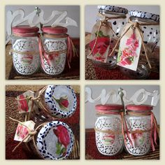 frascos de mermelada reciclados! pidopidodeco@hotmail.com Green Recycling, Decoupage Jars, Pots, Reuse Recycle, Paper Clip, Special Gifts, Mason Jars, Projects To Try, Shabby Chic