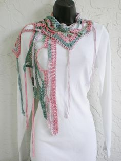 hand crochet scarf shawl  all seasons   pink green by annmag (Accessories, Scarves & Wraps, Scarves, hand crochet, lightweight lacy, spring scarf, fall spring summer, chic scarf, light airy scarf, winter autumn annmag, all year round, women shawl scarf, wrap shawlette boho, cotton wrap, lacy pink green, fringe)