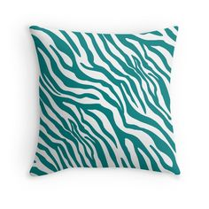 'Teal Zebra Print Pattern' Throw Pillow by Teal Throw Pillows, Floor Pillows, Framed Prints, Canvas Prints, Art Prints, Zebra Print, Art Boards, Print Patterns, Duvet Covers