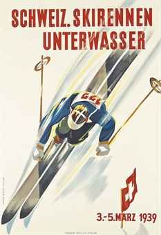 Worthy of the Sale Catalogue cover - Martin Peikert's unusual perspective sells speed and style SCHWEIZ. SKIRENNEN UNTERWASSER in Christies Ski Poster sale 2015