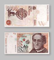 5.000 Pesetas de la Antigua Moneda Española - Money Made in Spain