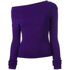Jacquemus Une Epaule Pullover ($348) ❤ liked on Polyvore featuring tops, sweaters, purple top, wool sweaters, purple sweater, pullover tops and woolen sweater