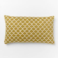 "Scalloped Crewel Pillow Cover – Horseradish | West Elm 12""w x 21""l."