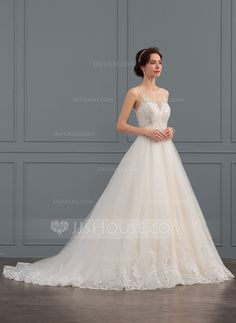 Ball-Gown Scoop Neck Court Train Tulle Lace Wedding Dress With Beading  Sequins Wedding Dresses 9f3374af76e1