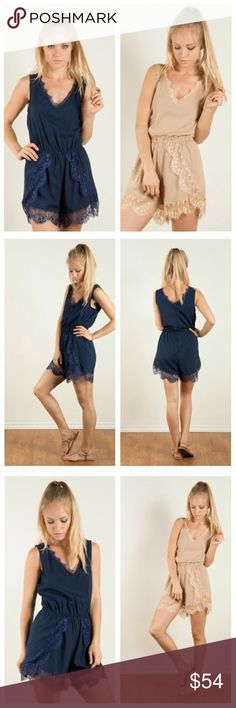 **HOST PICK** Beautiful navy or taupe romper! Sleeveless romper with v-neck, gathered elastic waistband, lace neckline trim, and lace trimmed hem. 100% polyester available in Navy and taupe  Currently have 1S 2M 2L in both colors Pants Jumpsuits & Rompers
