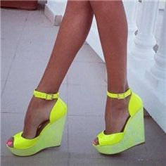 Ericdress Yellow Ankle Strap Peep Toe Wedge Sandals