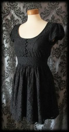 Gothic Black Lace Tiny Button Lilith's Lover Victorian Tea Dress 10 12 Vintage | eBay