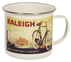 Travel back in style with this gorgeous Raleigh Enamel Mug. Featuring a vintage advertising poster from Raleigh Bicycle Co. archives this Raleigh Enamel Mug is a lovely travel accessory for cycle t…