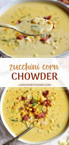 Zucchini Corn Chowder is a creamy and delicioussoup filled with garden fresh corn and zucchini and crispy bacon. You should also try Corn Soup! Zucchini Corn Chowder Soup is a favorite in our house. We