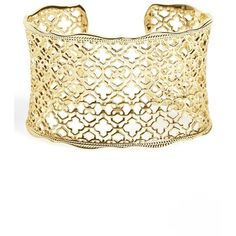 Kendra Scott 'Mystic Bazaar - Candice' Wide Cuff (300 PLN) ❤ liked on Polyvore featuring jewelry, bracelets, gold metal, cuff jewelry, 14k bangle, kendra scott, 14k jewelry and 14 karat gold jewelry