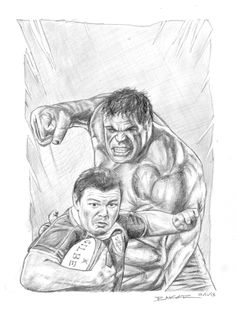 A Hulk vs Brian O'Driscoll fun comic book style sketch I did a few years back. Limited edition prints available here https://markbakerart.com/collections/art-prints/products/hulk-v-brian-odriscoll-sketch-print?utm_content=buffer24a62&utm_medium=social&utm_source=pinterest.com&utm_campaign=buffer