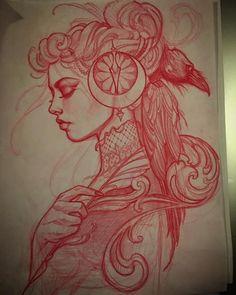 Jeff Norton - Red pencil sketch