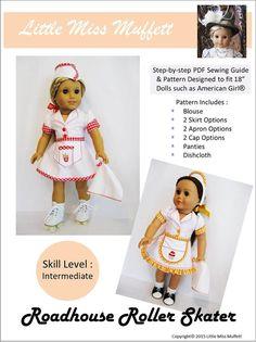 Pixie Faire Little Miss Muffett Roadhouse Roller Skater  Doll Clothes Pattern for 18 inch American Girl Dolls - PDF