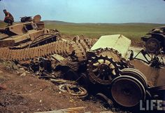 What's left of a German Tiger tank after U.S. Army demolition men did a very good job of blowing it up after the battle for El Guettar.