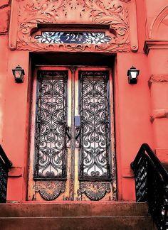 Bright coral door in Brooklyn