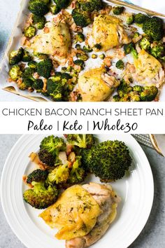This chicken bacon ranch sheet pan meal is perfect for busy weeknights. It's a quick and easy recipe that is low carb, paleo and Whole30 compliant. The blend of flavors is perfect and makes for a healthy meal the whole family will love #sheetpanmeals #paleo #whole30 #lowcarb #keto #whole30recipes Diet Dinner Recipes, Paleo Dinner, Lunch Recipes, Paleo Recipes, Real Food Recipes, Cooking Recipes, Delicious Recipes, Chicken Recipes, Quick Weeknight Dinners