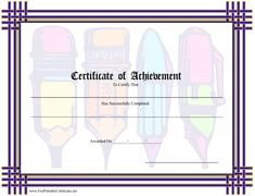 A certificate of achievement in writing, with comical color images of pens and pencils. Free to download and print