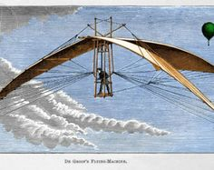 DeGroof's Flying Machine, Airship, Glider, Hot Air Balloon, from 1890s Steampunk Victorian Engraving, Giclee Print Reproduction