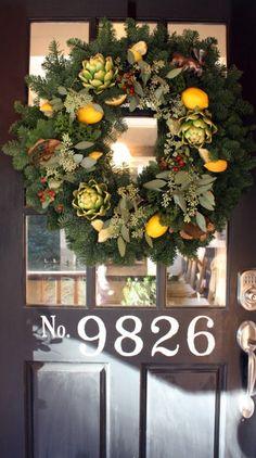 Front Door Christmas wreath/numbers