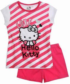 Nové - Tmavorůžovo-bílé pruhované pyžamo s Hello Kitty