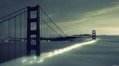 lights architecture fog bridges Golden Gate Bridge San Francisco wallpaper background
