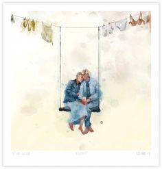 Gicléetrykk på syrefritt akvarellpapir. Nummerert og signert. Papirstørrelse: 40 x 42 cm Motivstørrelse: 36 x 36 cm Opplag: 100 Pris er inkl. obligatorisk kunstavgift på 5% Father Love Quotes, Fathers Love, Family Illustration, Woman Illustration, Love Matters, Advanced Style, Dream Art, Artsy Fartsy, Painting & Drawing