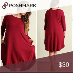 """Long sleeve wine colored dress Beautiful color, very versatile; can dress up for the evening or dress down with cute sandals. Worn once. Love it but it's too big one me. Bust 42"""", length is 35"""". 95% rayon, 5% spandex. Reposh. Dresses Long Sleeve"""