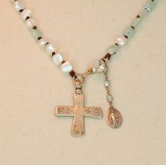 Coptic Cross with Pearl and rectangle aquamarine