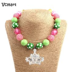 Vcmart Sweet Pink Clear Crown Bubblegum Necklace Rainbow Beaded Little Girls Chunky Necklace For Dress Up #Affiliate