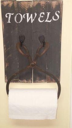 Paper towel holder.  Pallet wood, rustic, vintage ice tongs