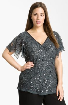 Free shipping and returns on Adrianna Papell Sequin Chiffon Top (Plus Size) at Nordstrom.com. Slit sleeves add fluttery movement to a silk-chiffon top covered with a layer of light-reflecting sequins.