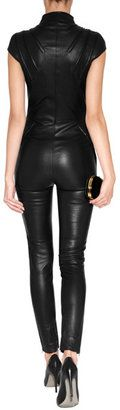 Jitrois Leather Kinsky Jumpsuit in Black