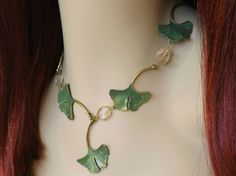 Green Ginkgo Leaf Necklace - Statement Necklace w/ Hand Painted Ginkgo Leaves and Citrine Crystal Gemstones -Forest Green Elven Necklace
