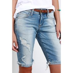Hidden Jeans Tourist Attraction Light Wash Distressed Bermuda Shorts ($62) ❤ liked on Polyvore featuring shorts, blue, destroyed shorts, bermuda shorts, long shorts, distressed shorts and ripped shorts