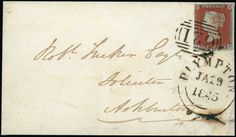 Cancellations: 1845 (Jan. 29) envelope to Ashburton, bearing 1841 1d. red-brown plate 46 JE (cut into at left), tied by fine ''621'' barred oval of Plympton (Parmenter rarity ''G''), with matching datestamp below.