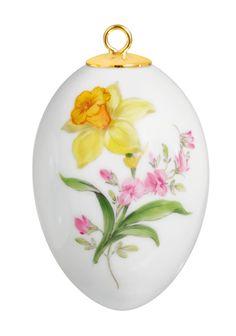Easteregg, Vintage Flowerpainting 2, Lent lily, H 4,5 cm