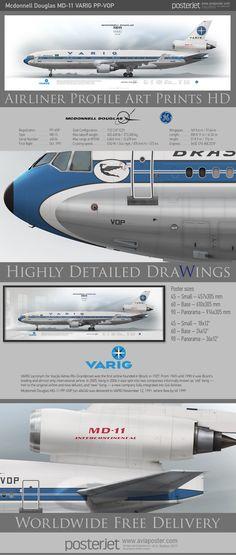 Mcdonnell Douglas MD-11 VARIG PP-VOP  | www.aviaposter.com | #airliners #aviation #jetliner #airplane #pilot #aviationlovers #avgeek #jet #sideplane #airport #md11 #varig